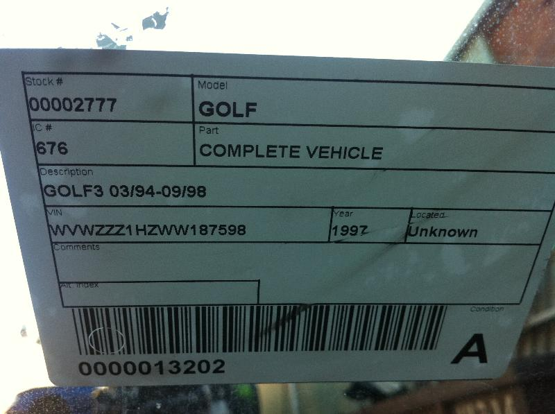 View Auto part Airbag Assembly Volkswagen Golf 1997